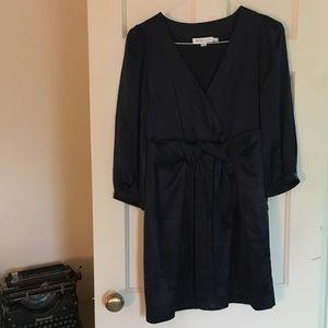 Navy 100% Silk See by Chloe Long Sleeve Dress